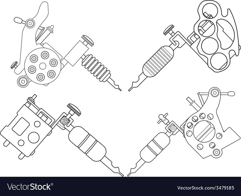 4 tattoo machines set lineart vector