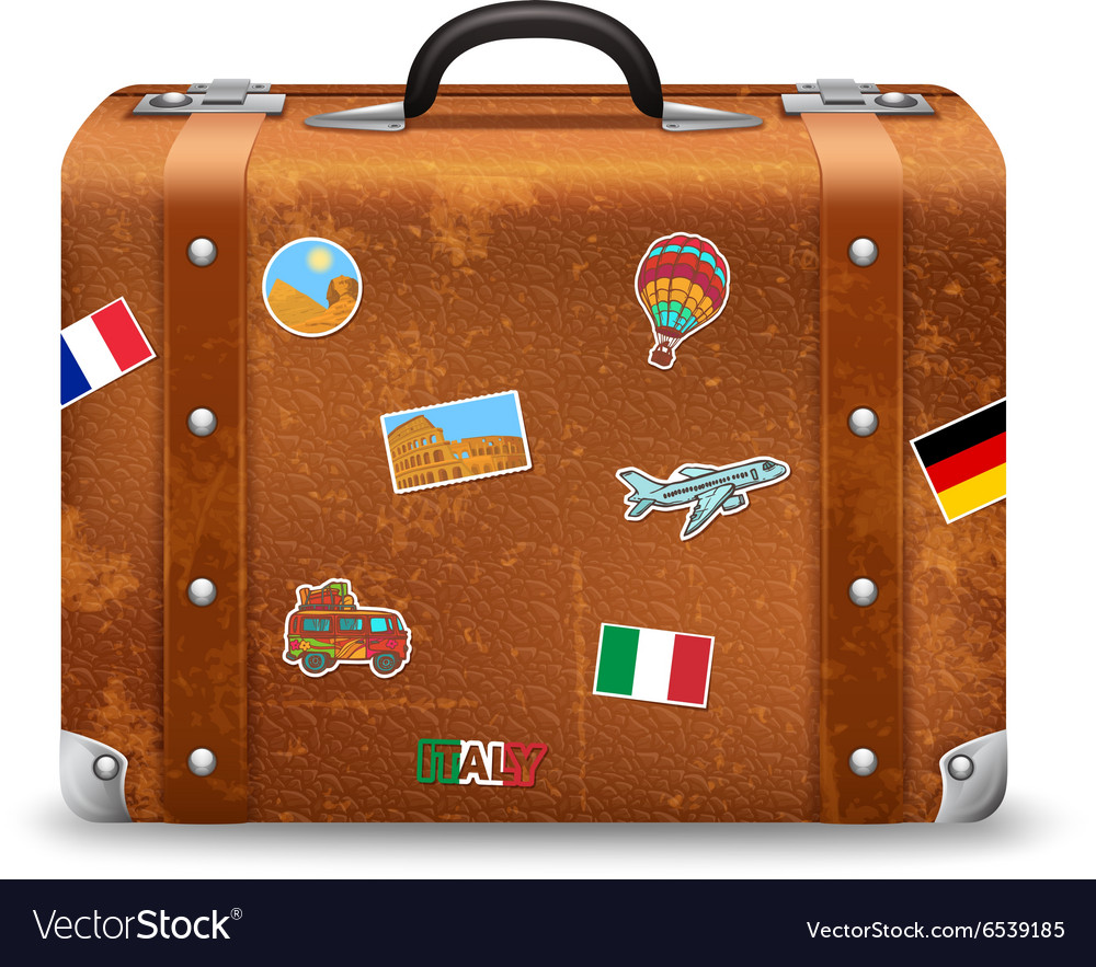 Old suitcase with travel stickers vector