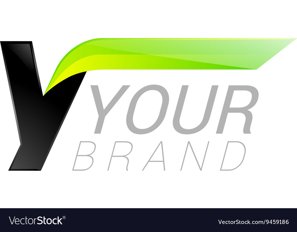 Y letter black and green logo design fast speed vector