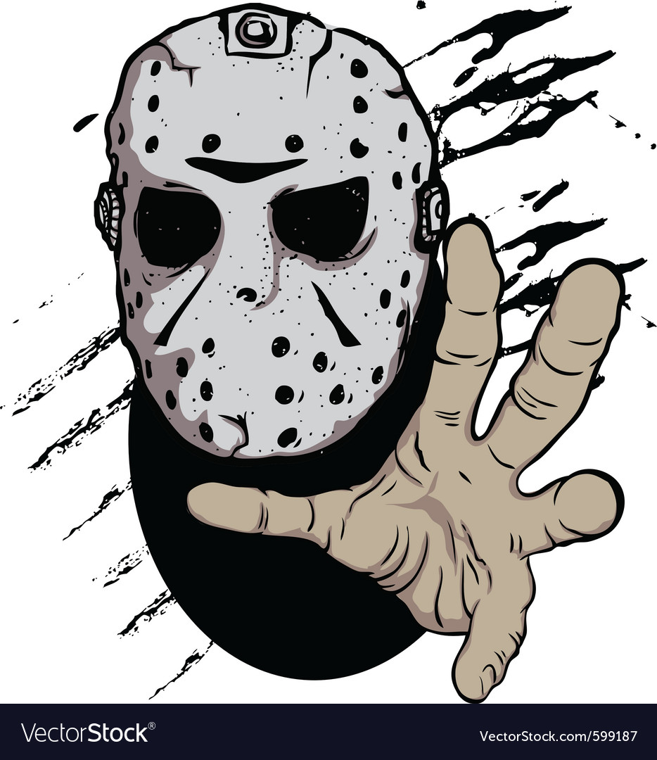 Horror hockey mask halloween vector