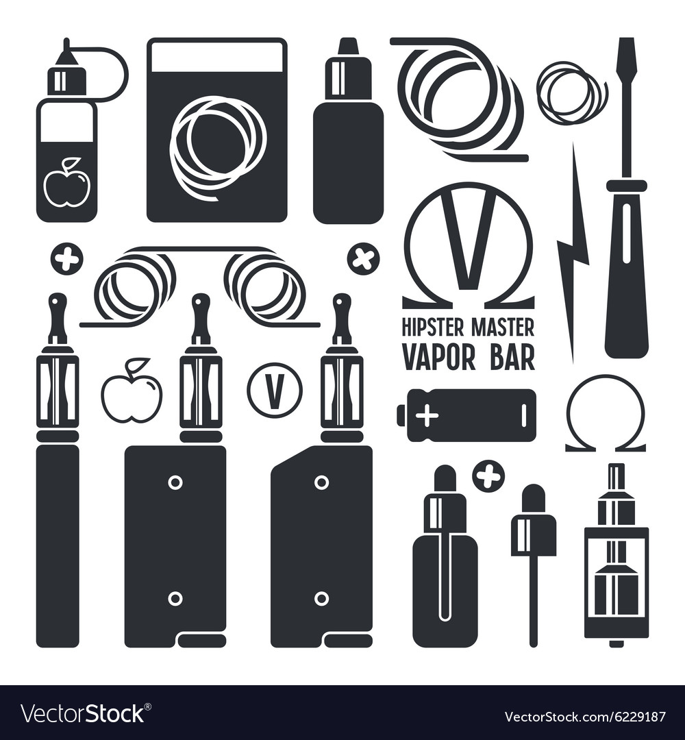 Vape shop and e cigarette icons vector