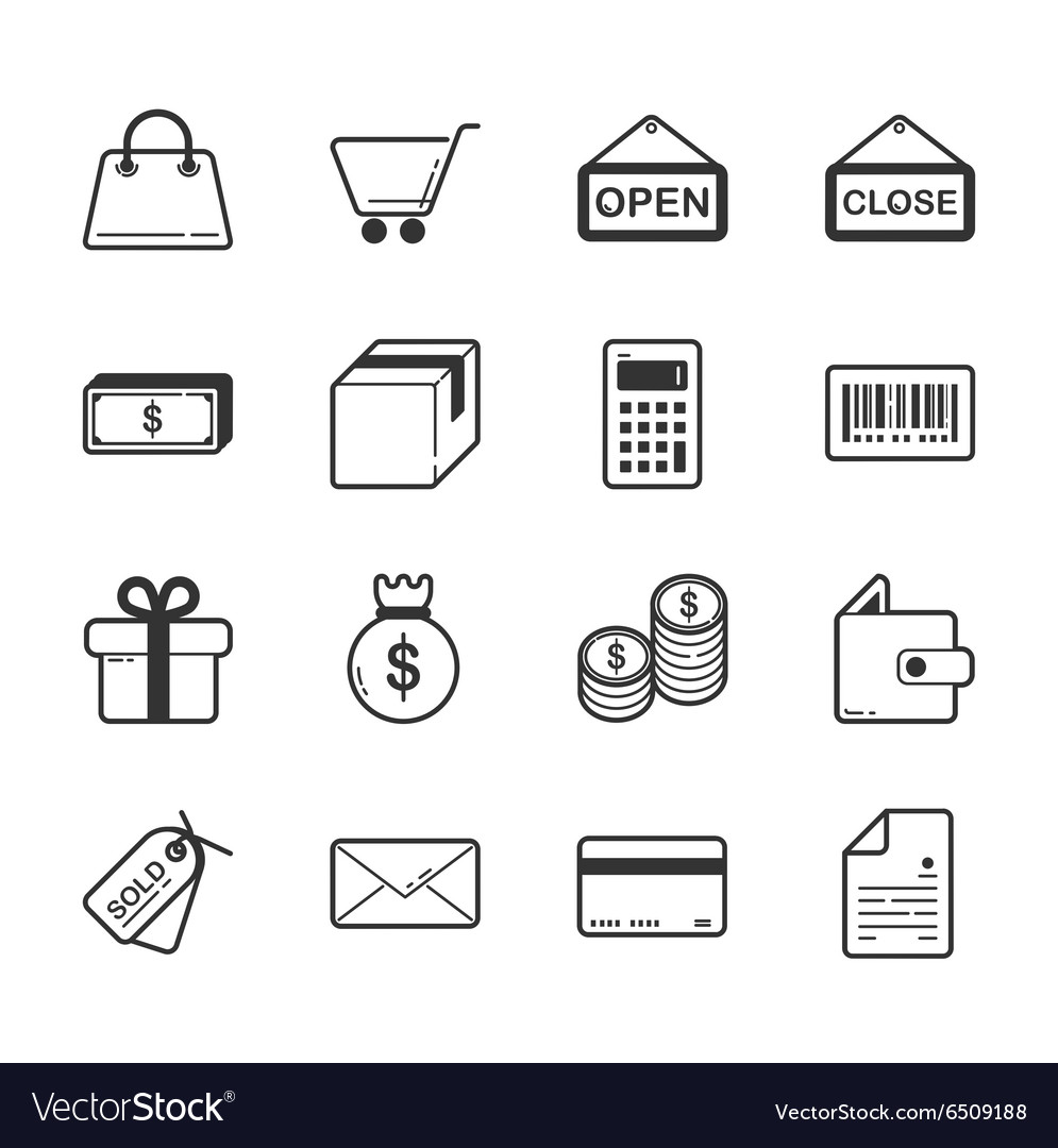 Set of shopping and ecommerce icons vector