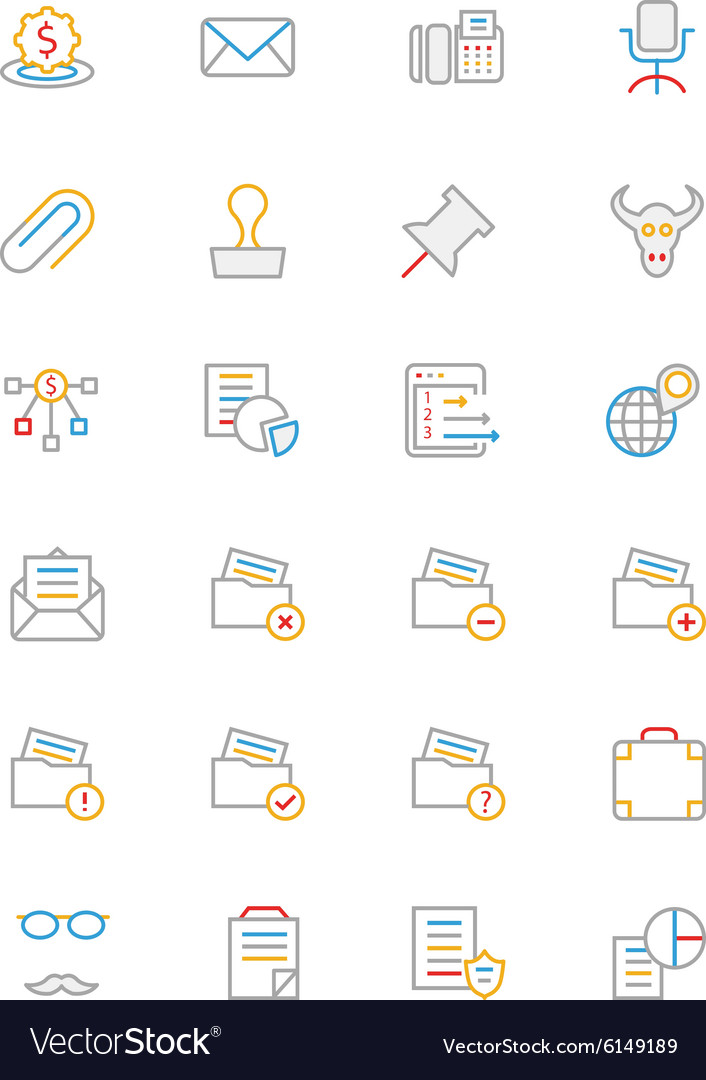 Business and finance colored outline icons 8 vector