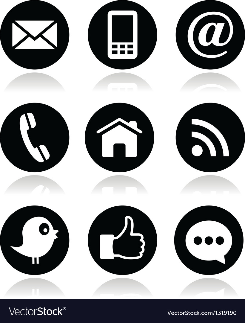 Contact web blog and social media round icons vector