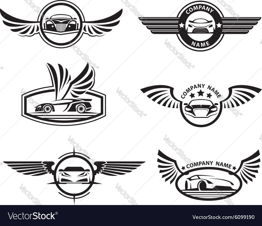 Set of car labels vector
