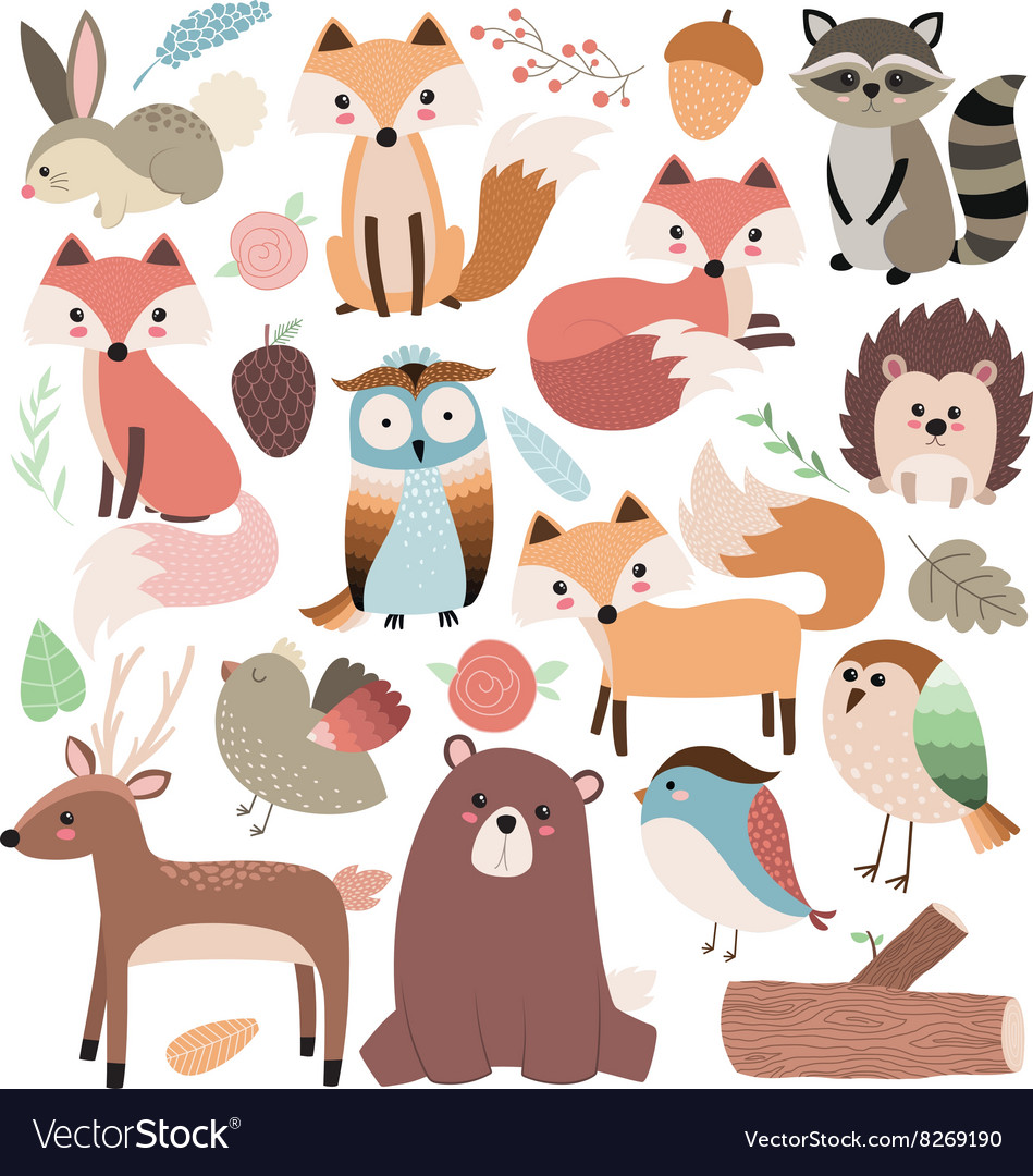 Woodland animals volume 2 vector