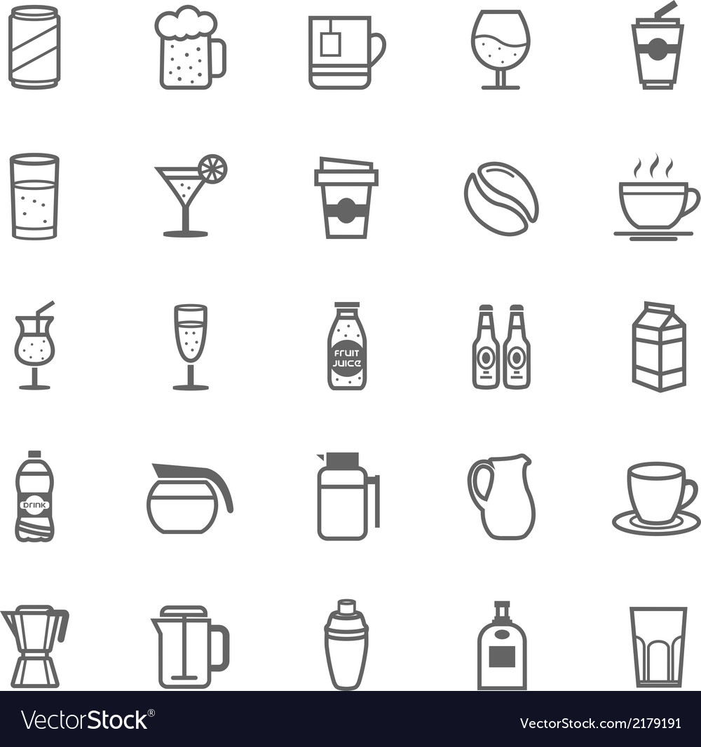 Set of outline stroke beverage icon vector