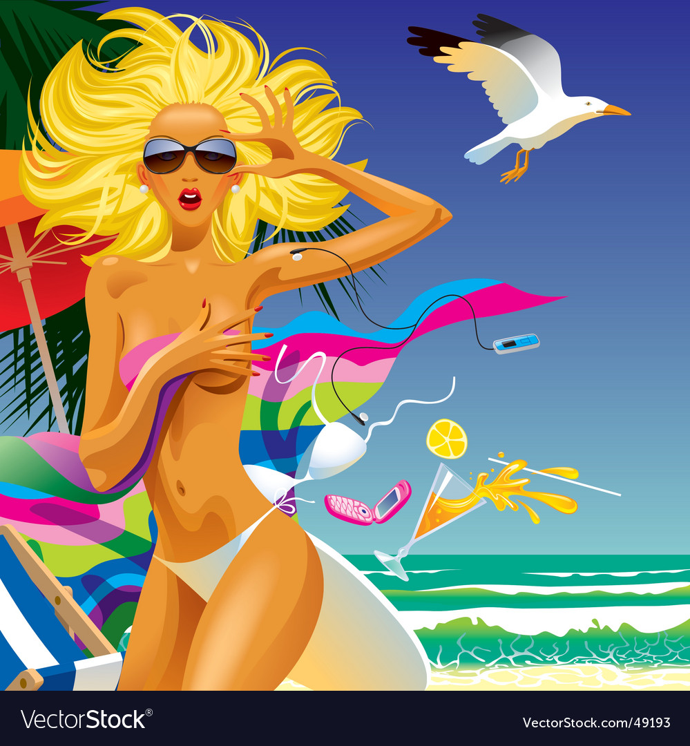 Surprised girl in an beach vector