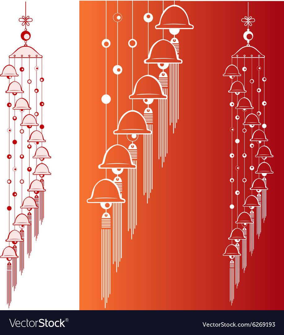 Wind chimes design element vector