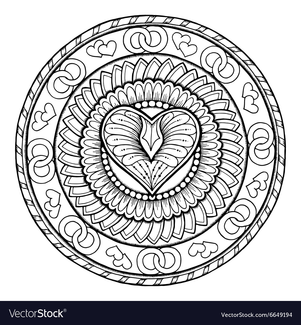 Circle tribal doodle ornament with love heart vector