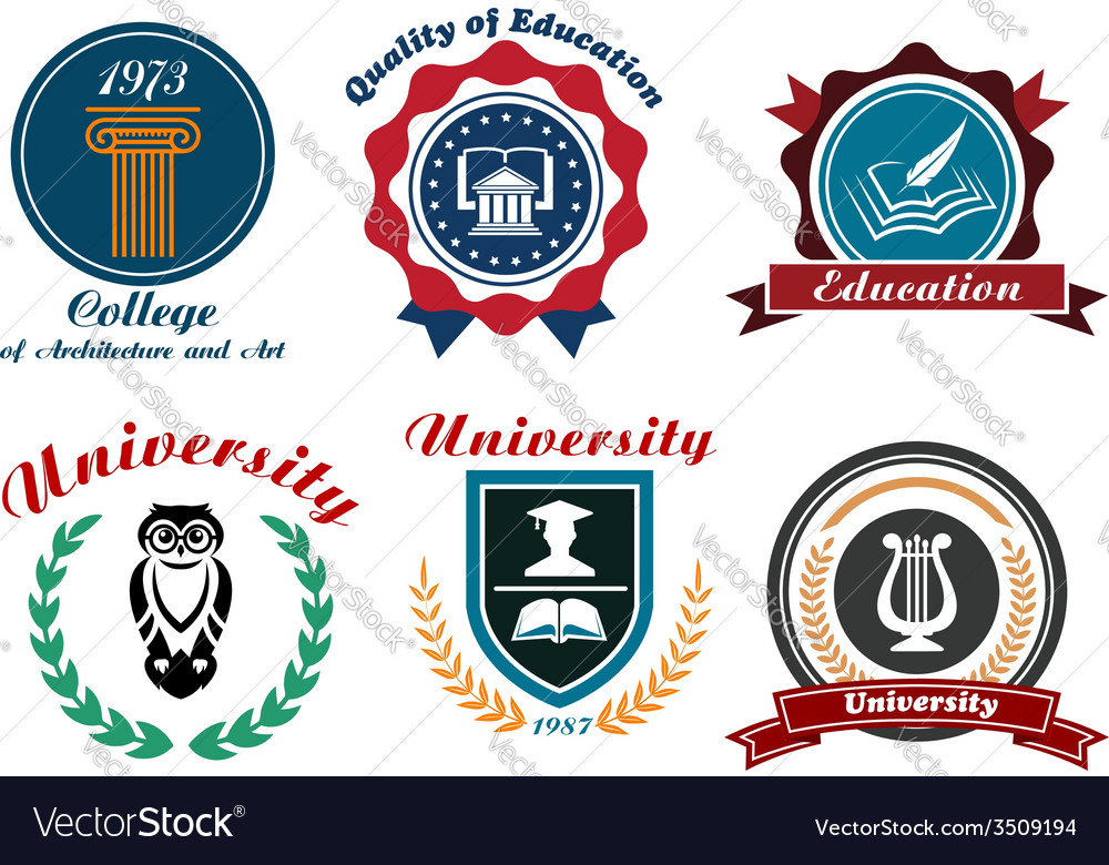 Vintage university and college logotype vector