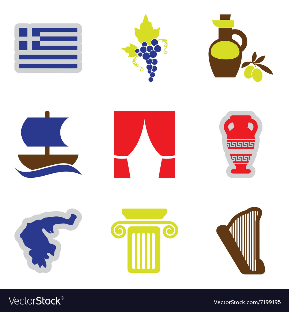 Set of flat web icons on white background greece vector