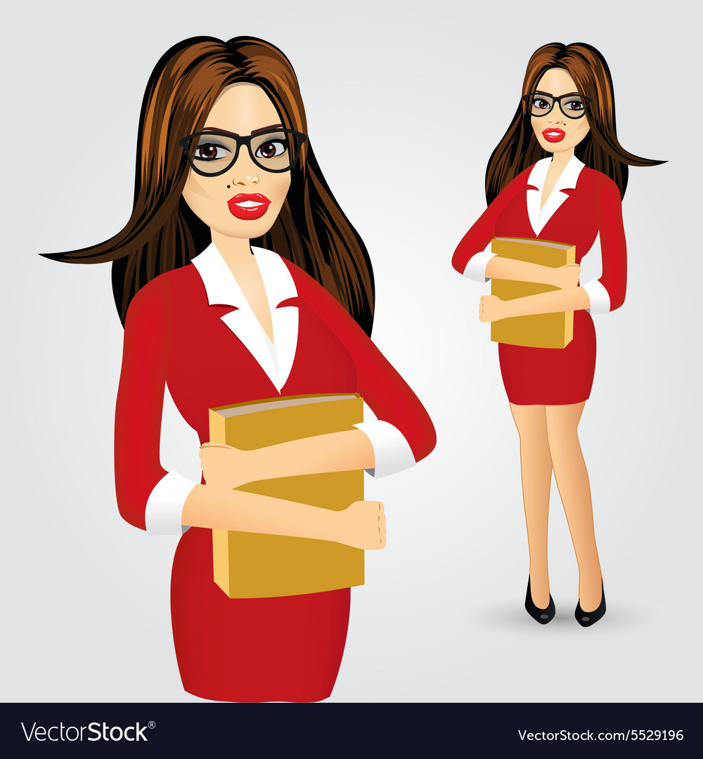 Business woman with glasses and folder vector