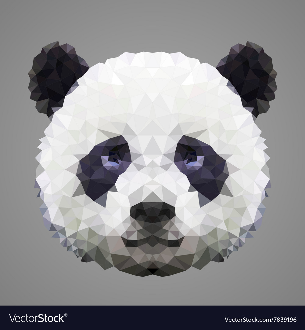 Panda low poly portrait vector