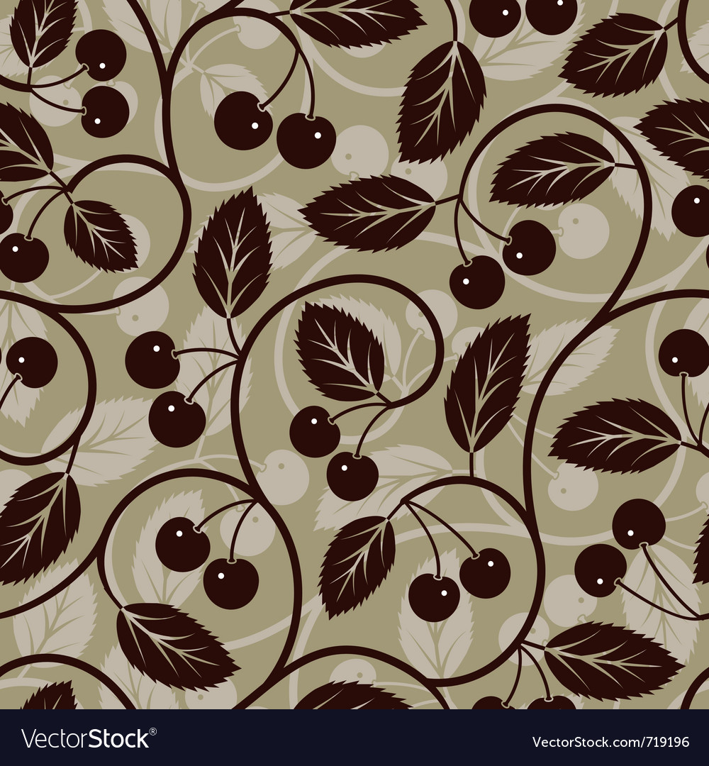 Seamless cherry with leaf background vector