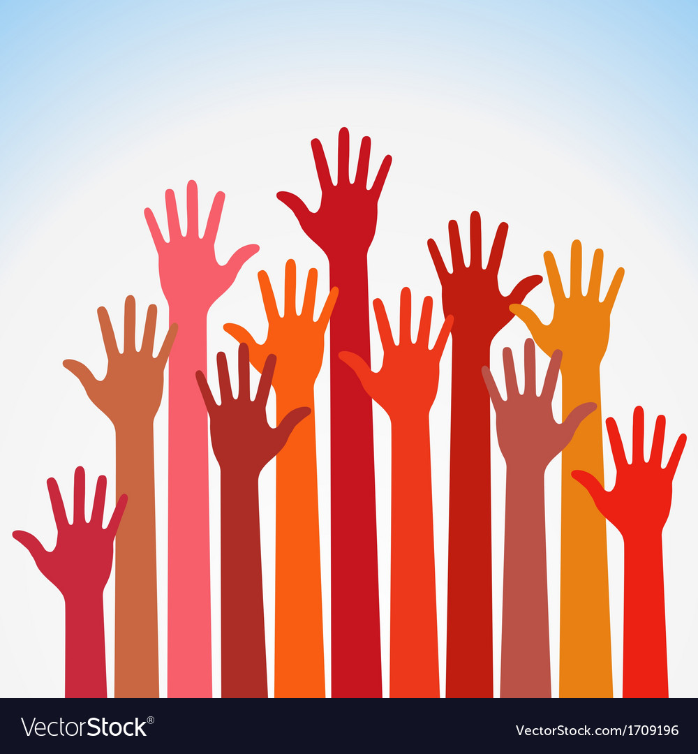 Warm colorful up hands vector