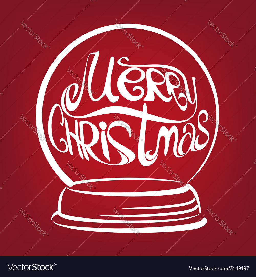 Christmas snow globe symbol drawn vector