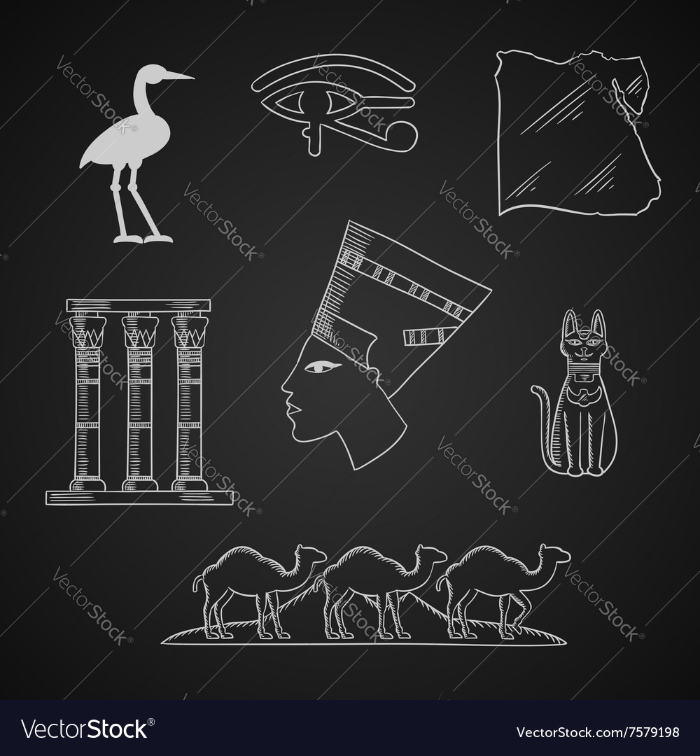 Ancient egypt travel and art icons vector