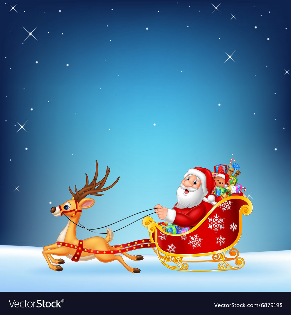 Cute santa clause in his christmas sled vector