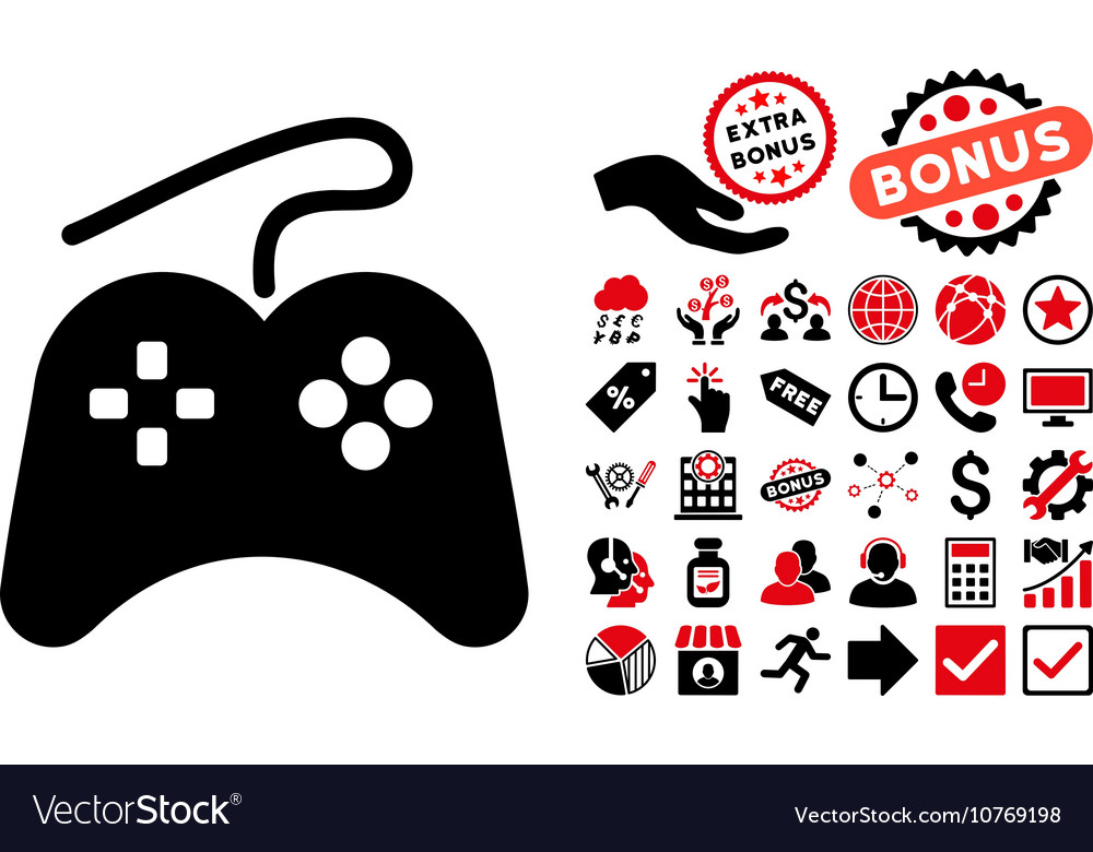Gamepad flat icon with bonus vector