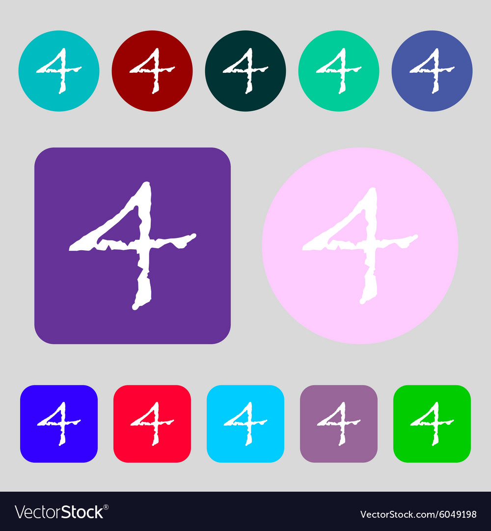 Number four icon sign 12 colored buttons flat vector