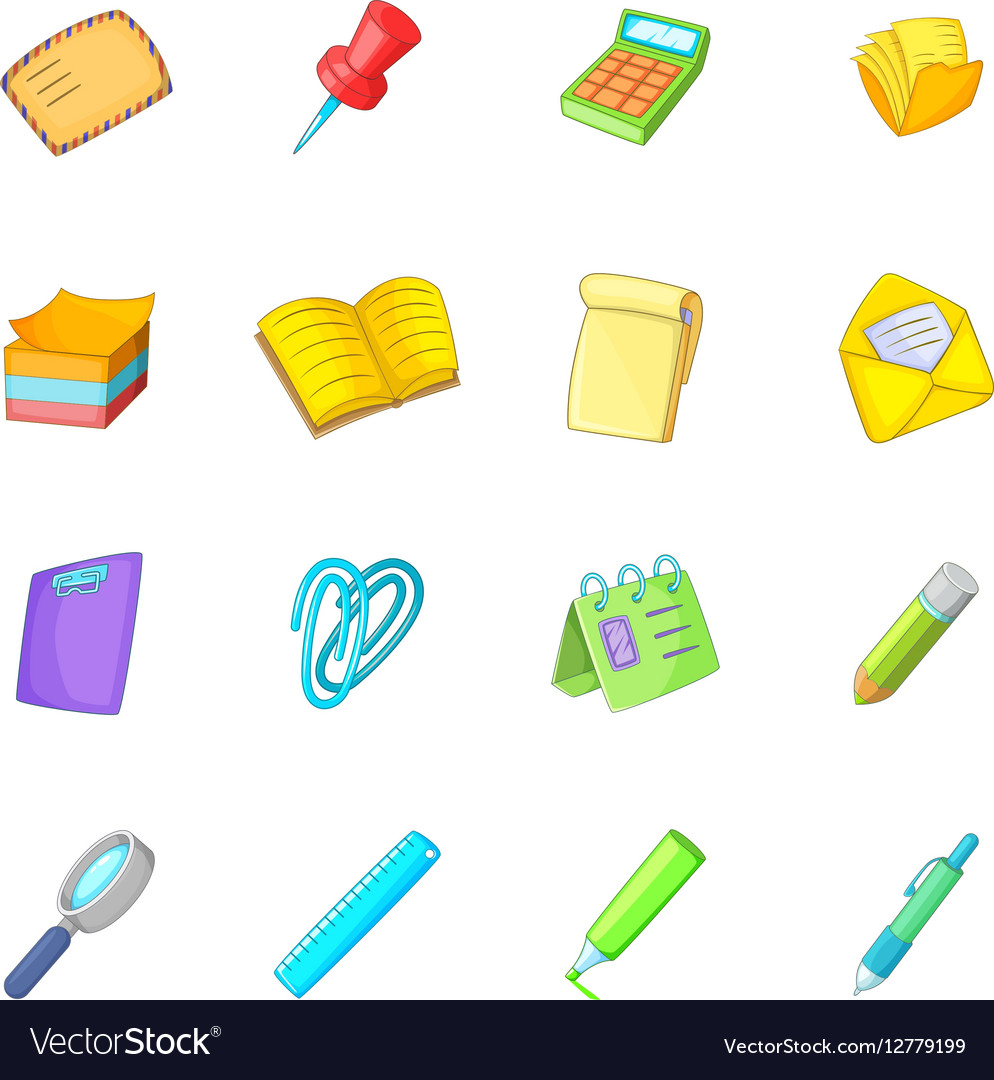 Stationery icons set cartoon style vector