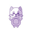 silhouette cute cat wild animal with face vector image