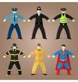 Professions set of policeman fireman and superman vector image