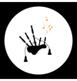 black isolated simple bagpipes musical instrument vector image