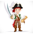 Cute pirate boy with cutlass isolated on a white vector image