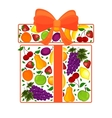 gift from fruit decorated with a vector image