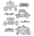 graphic set with old carriages and vintage vector image