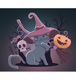 halloween with orange pumpkin cat in witch vector image