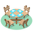 isometric furniture - dinner table with cutlery vector image