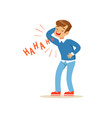 happy boy in a blue pullover laughing out loud vector image