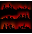Silhouettes destroyed cities vector image