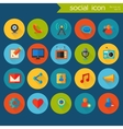 Trendy detailed social icon set vector image