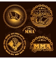 MMA mixed martial arts emblem badges - set vector image