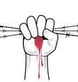 Clenched fist hand in blood with barbed wire vector image
