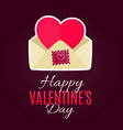 envelope with heart cardfor valentines day vector image