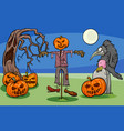 halloween cartoon spooky characters group vector image