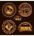 MMA mixed martial arts emblem badges - set vector image