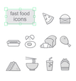 Thin line icons set Fast food vector image