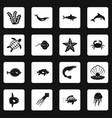 sea animals icons set squares vector image