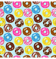 Seamless pattern of assorted doughnuts vector image
