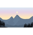 Silhouette of mountain and sun vector image