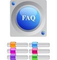 FAQ color round button vector image vector image