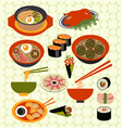 asian food Japanese dishes - vector image