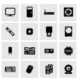 black computer icon set vector image