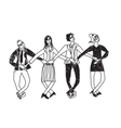 Business team dance presentation black and white vector image